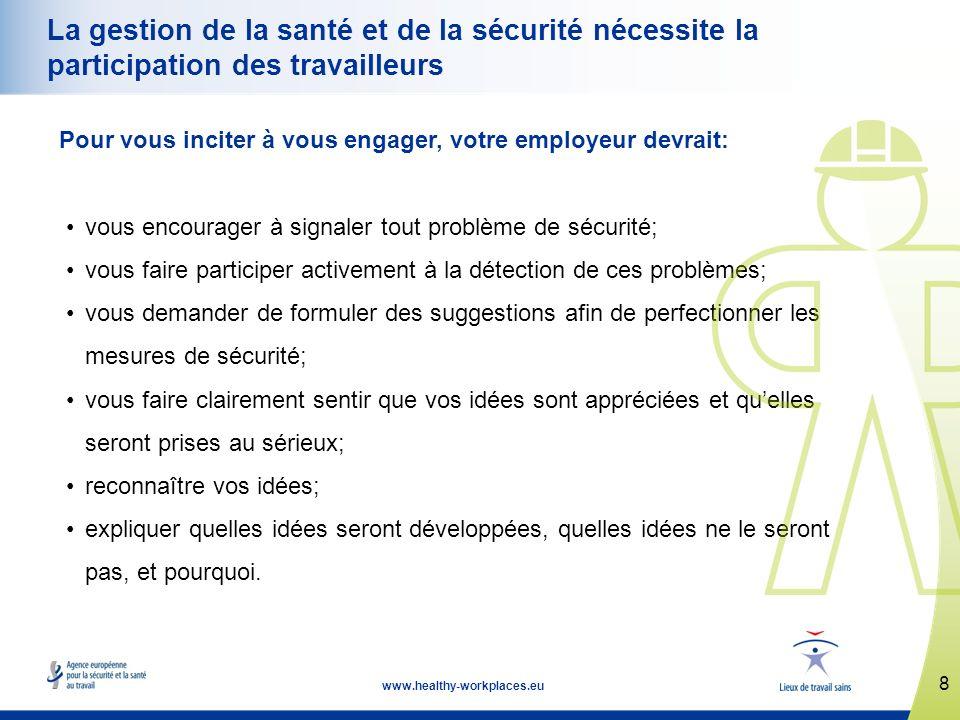 8 www.healthy-workplaces.eu La gestion de la santé et de la sécurité nécessite la participation des travailleurs Pour vous inciter à vous engager, vot