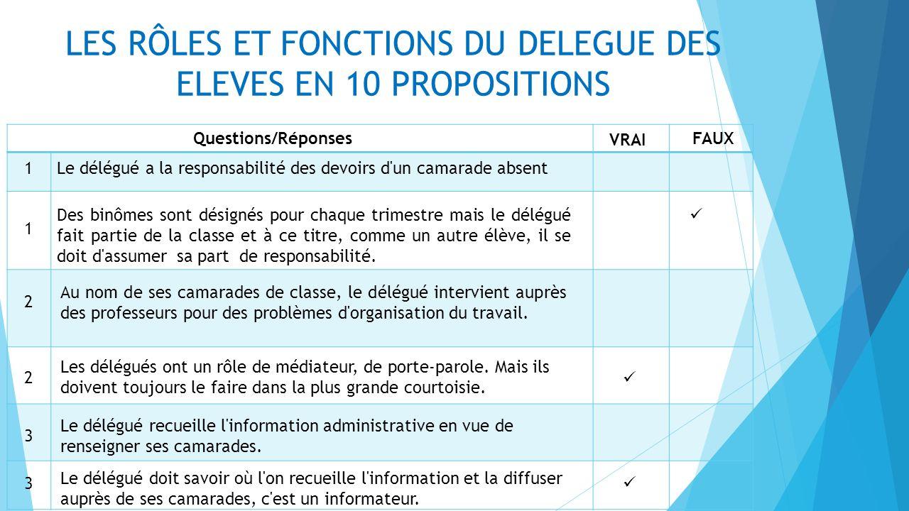 LES RÔLES ET FONCTIONS DU DELEGUE DES ELEVES EN 10 PROPOSITIONS Questions/Réponses 4 Les délégués animent la vie de la classe.