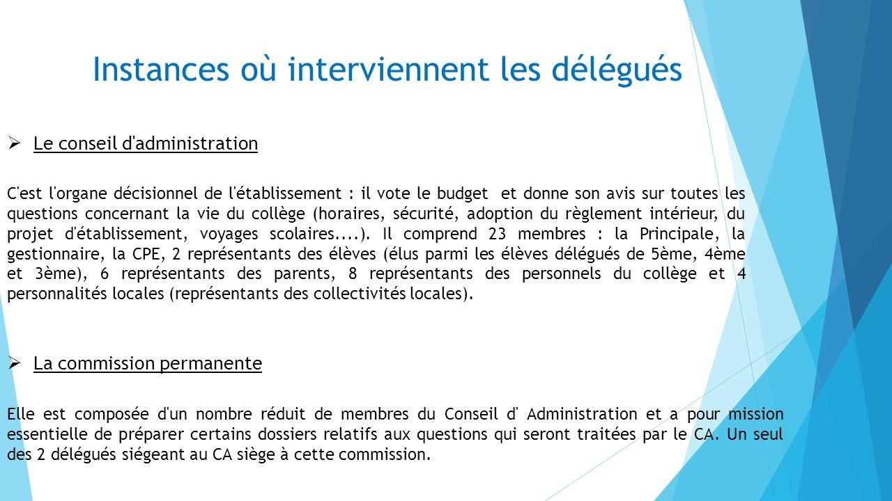 Instances où interviennent les délégués Le conseil de discipline Les 2 délégués des élèves qui siègent à ce conseil sont ceux élus au CA.