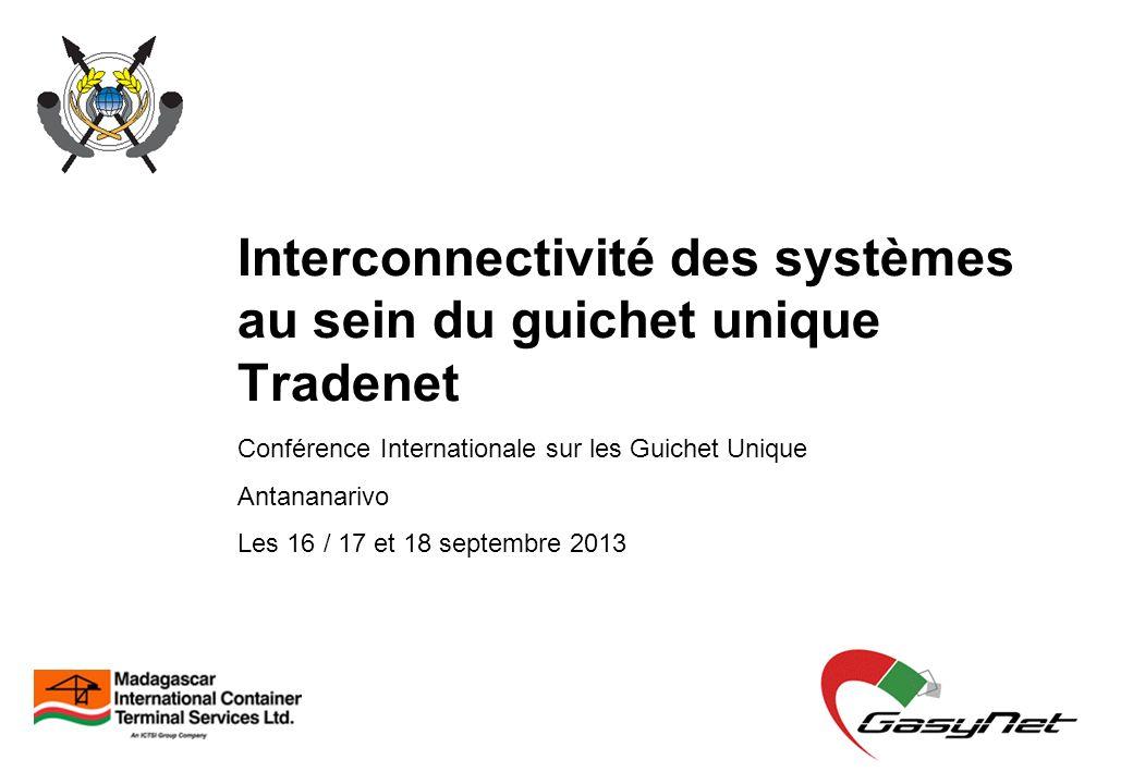 Interconnectivité des systèmes au sein du guichet unique Tradenet Conférence Internationale sur les Guichet Unique Antananarivo Les 16 / 17 et 18 sept