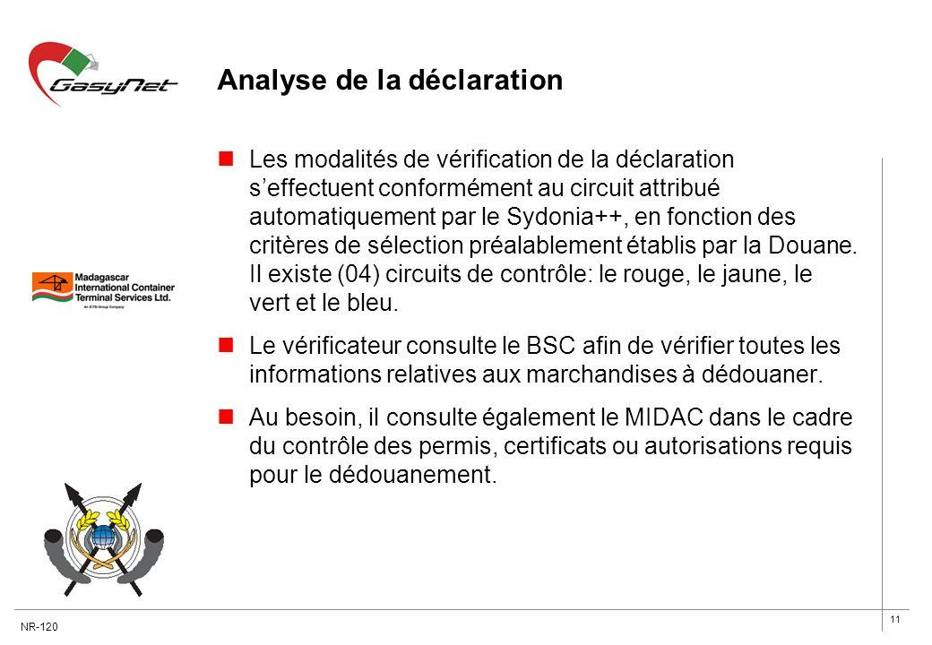 11 Analyse de la déclaration Les modalités de vérification de la déclaration seffectuent conformément au circuit attribué automatiquement par le Sydon