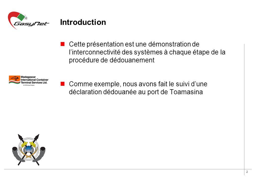 2 Introduction Cette présentation est une démonstration de linterconnectivité des systèmes à chaque étape de la procédure de dédouanement Comme exempl