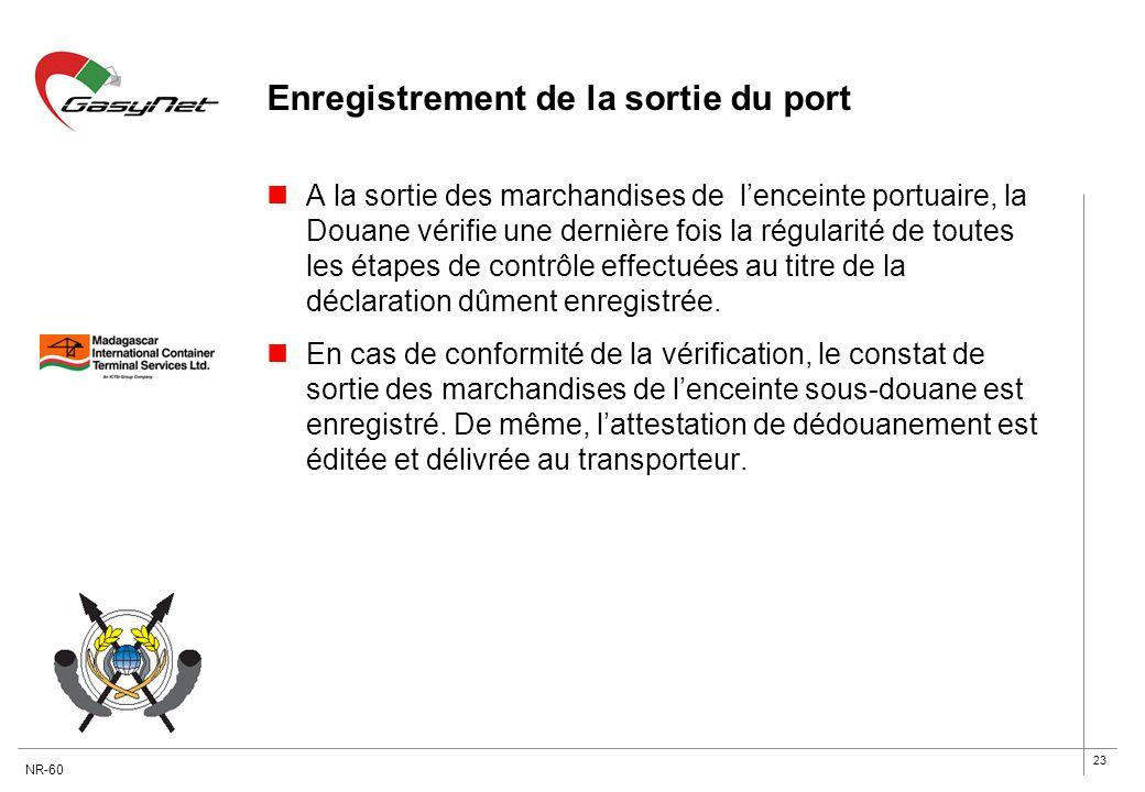 23 Enregistrement de la sortie du port A la sortie des marchandises de lenceinte portuaire, la Douane vérifie une dernière fois la régularité de toute