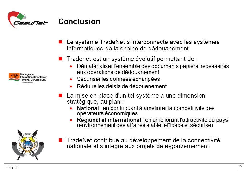 25 Conclusion Le système TradeNet sinterconnecte avec les systèmes informatiques de la chaine de dédouanement Tradenet est un système évolutif permett