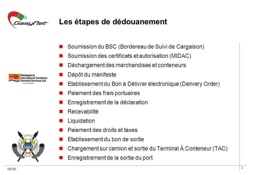 3 Les étapes de dédouanement Soumission du BSC (Bordereau de Suivi de Cargaison) Soumission des certificats et autorisation (MIDAC) Déchargement des m