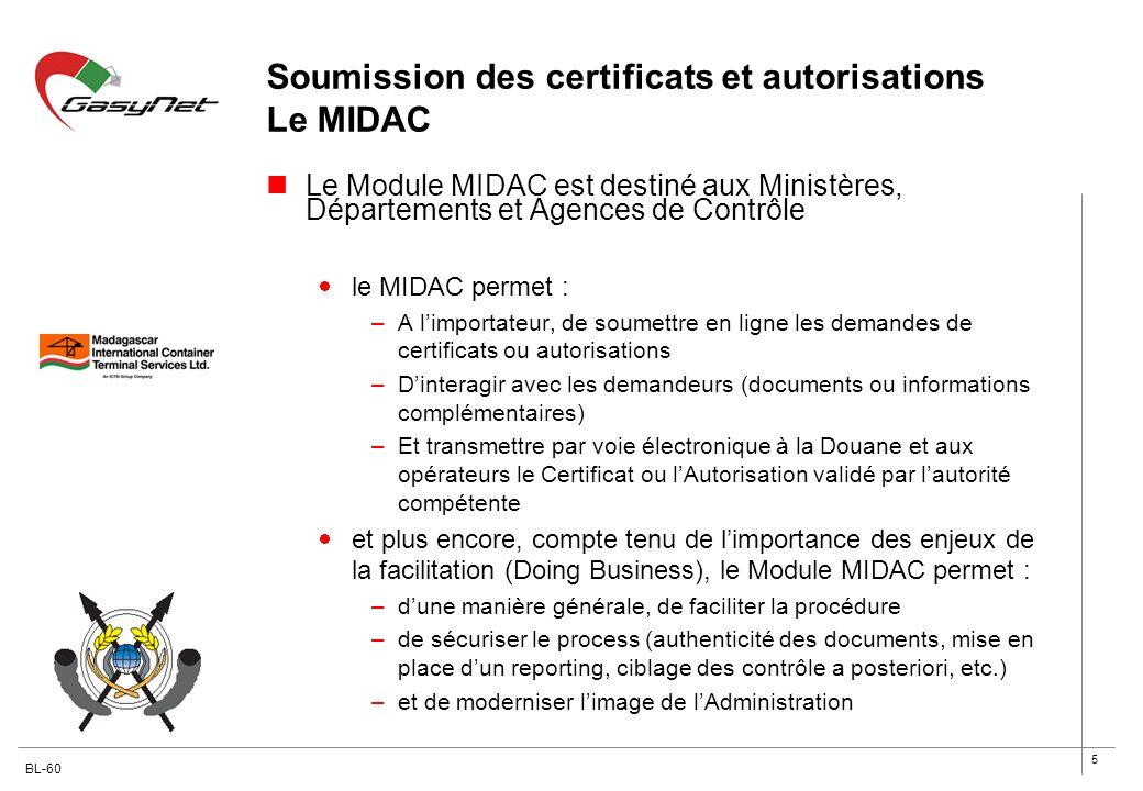5 Soumission des certificats et autorisations Le MIDAC Le Module MIDAC est destiné aux Ministères, Départements et Agences de Contrôle le MIDAC permet