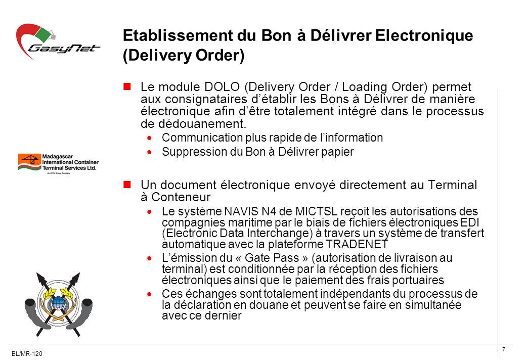 7 Etablissement du Bon à Délivrer Electronique (Delivery Order) Le module DOLO (Delivery Order / Loading Order) permet aux consignataires détablir les