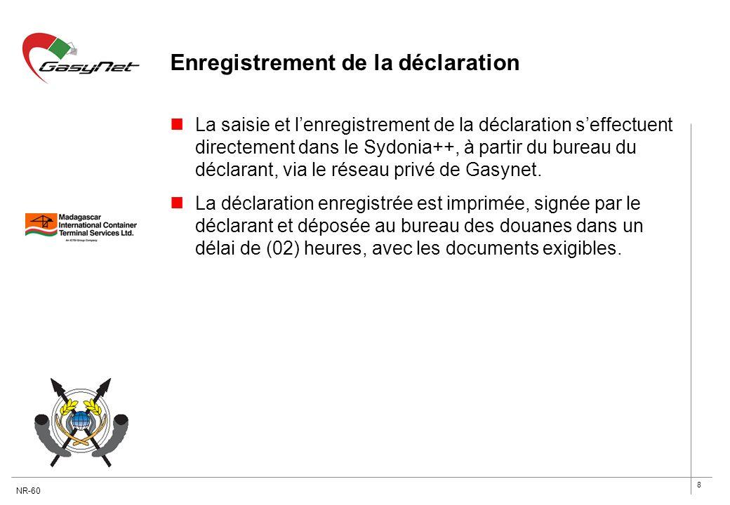 8 Enregistrement de la déclaration La saisie et lenregistrement de la déclaration seffectuent directement dans le Sydonia++, à partir du bureau du déc