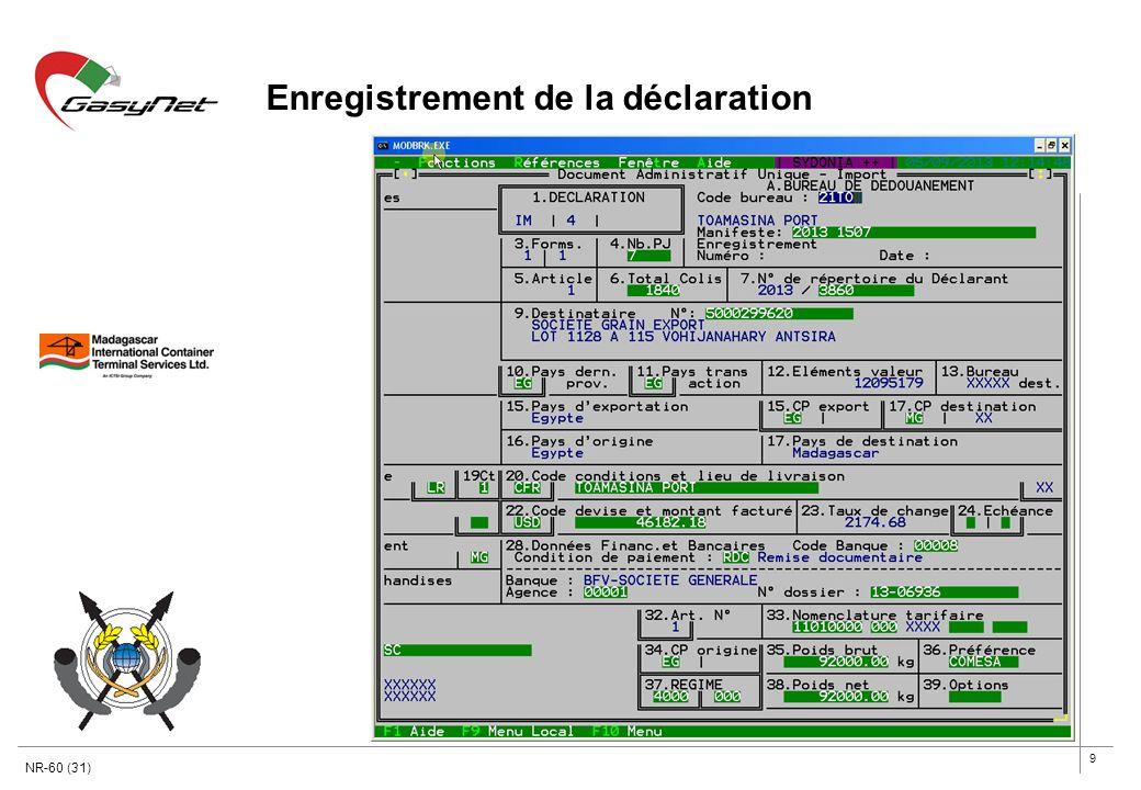 9 Enregistrement de la déclaration NR-60 (31)