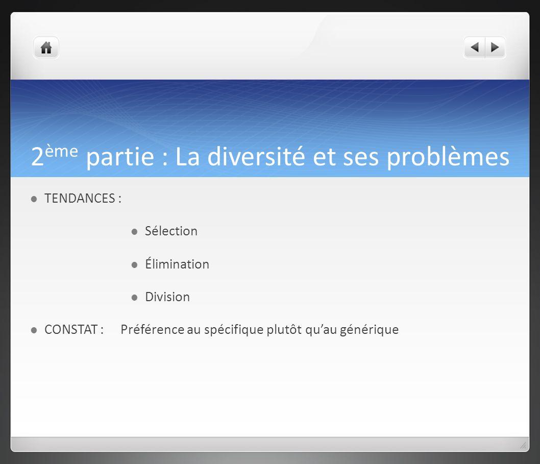 2 ème partie : La diversité et ses problèmes TENDANCES : Sélection Élimination Division CONSTAT : Préférence au spécifique plutôt quau générique
