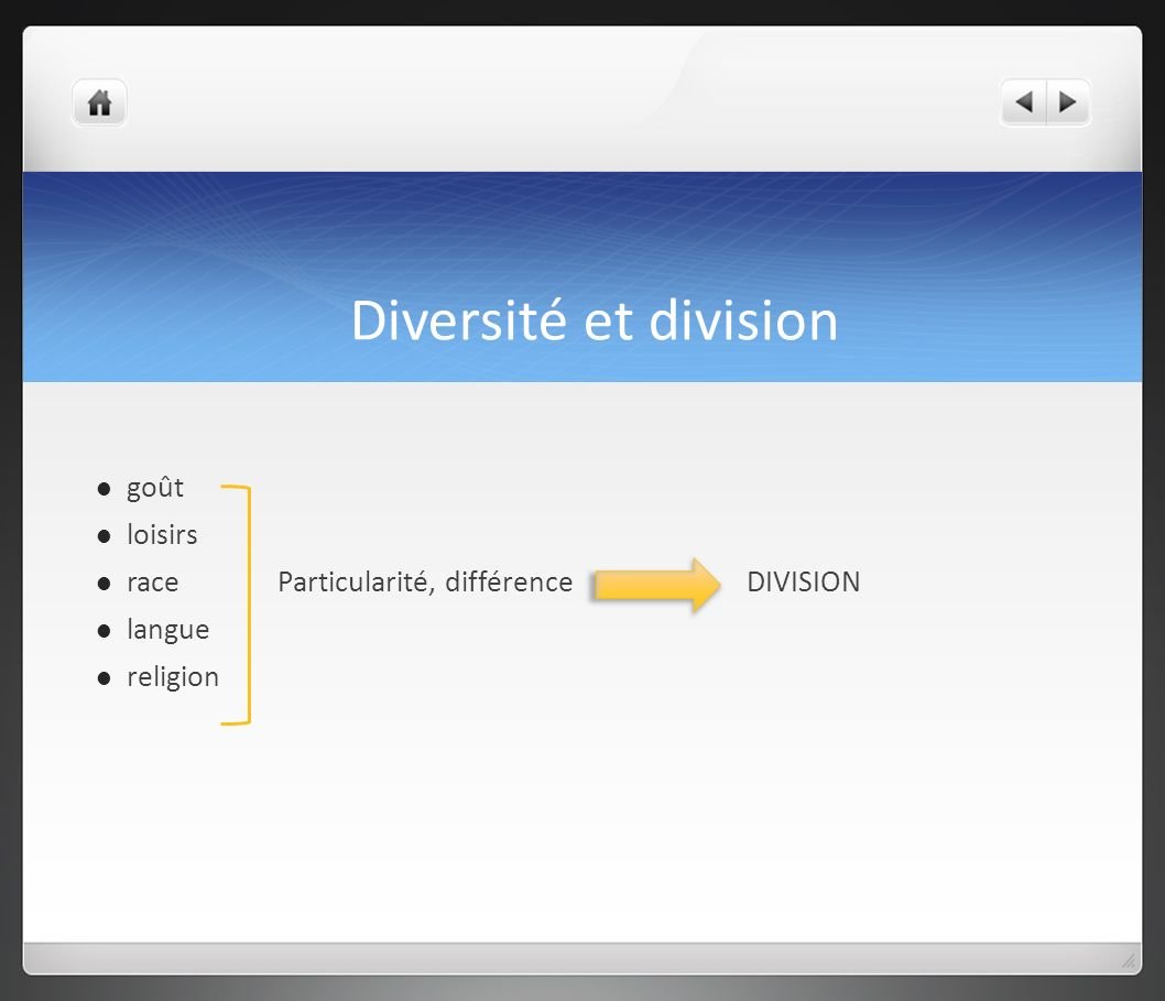 Diversité et division goût loisirs race Particularité, différence DIVISION langue religion