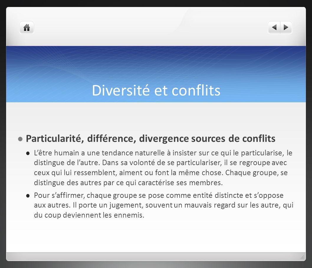 Diversité et conflits Particularité, différence, divergence sources de conflits Lêtre humain a une tendance naturelle à insister sur ce qui le particu