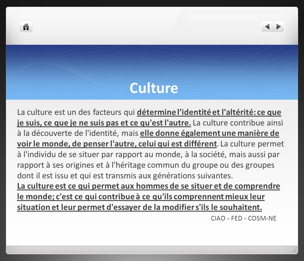 Culture La culture est un des facteurs qui détermine lidentité et l'altérité: ce que je suis, ce que je ne suis pas et ce qu'est l'autre. La culture c