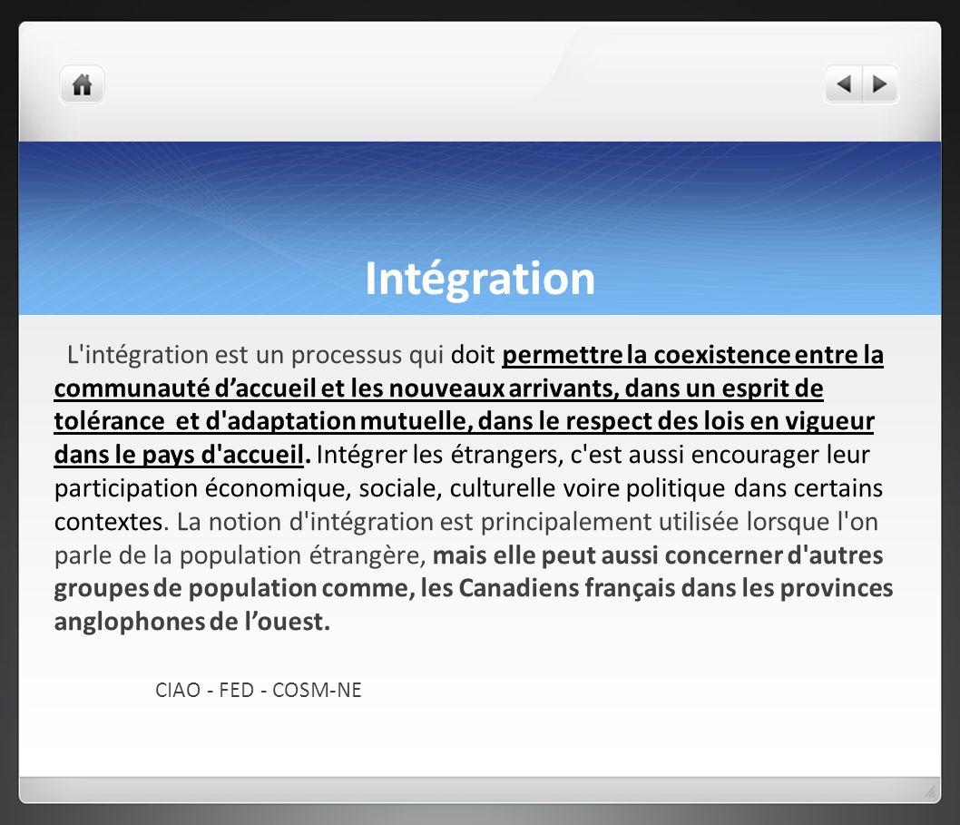 Intégration L intégration est un processus qui doit permettre la coexistence entre la communauté daccueil et les nouveaux arrivants, dans un esprit de tolérance et d adaptation mutuelle, dans le respect des lois en vigueur dans le pays d accueil.
