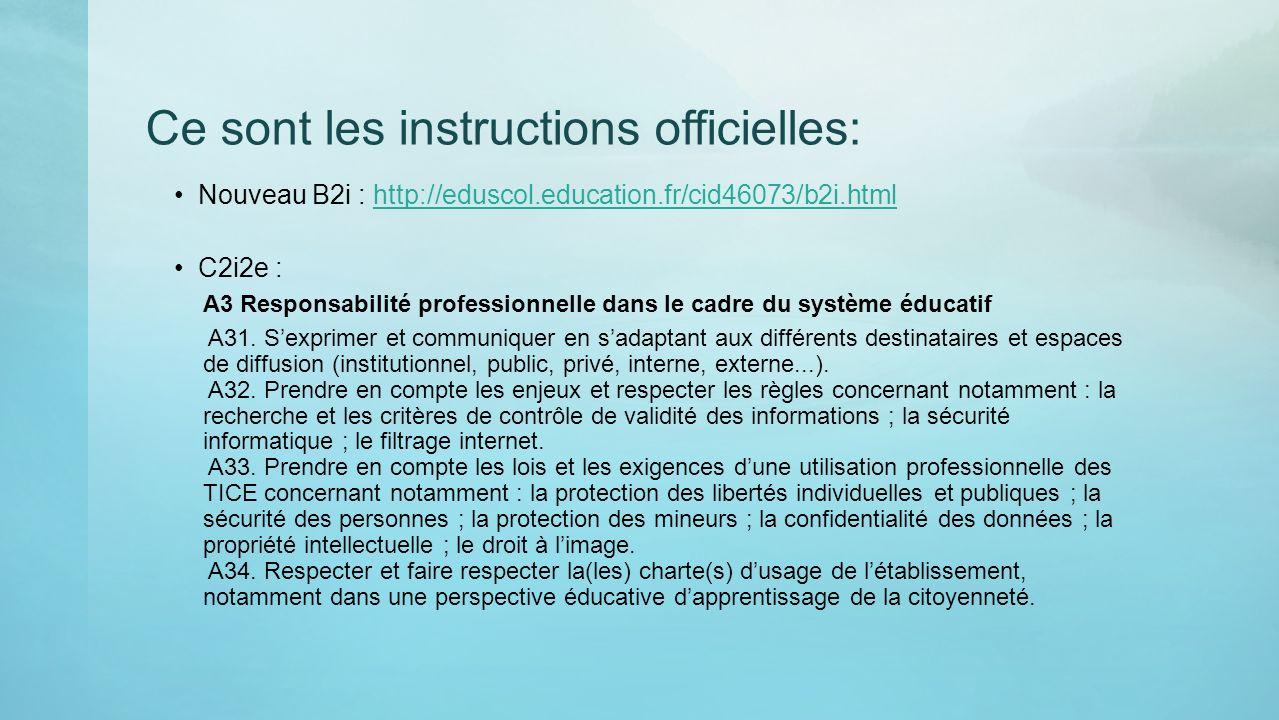 Ce sont les instructions officielles: Nouveau B2i : http://eduscol.education.fr/cid46073/b2i.htmlhttp://eduscol.education.fr/cid46073/b2i.html C2i2e :