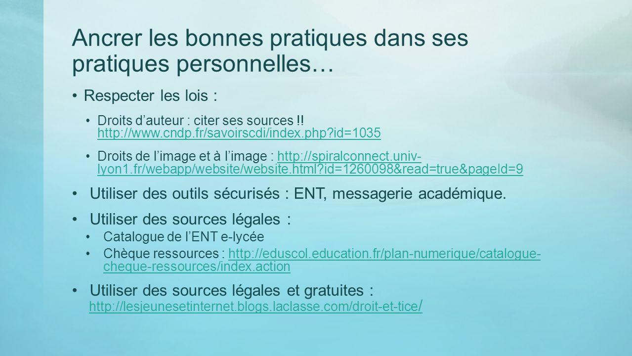 Ancrer les bonnes pratiques dans ses pratiques personnelles… Respecter les lois : Droits dauteur : citer ses sources !! http://www.cndp.fr/savoirscdi/