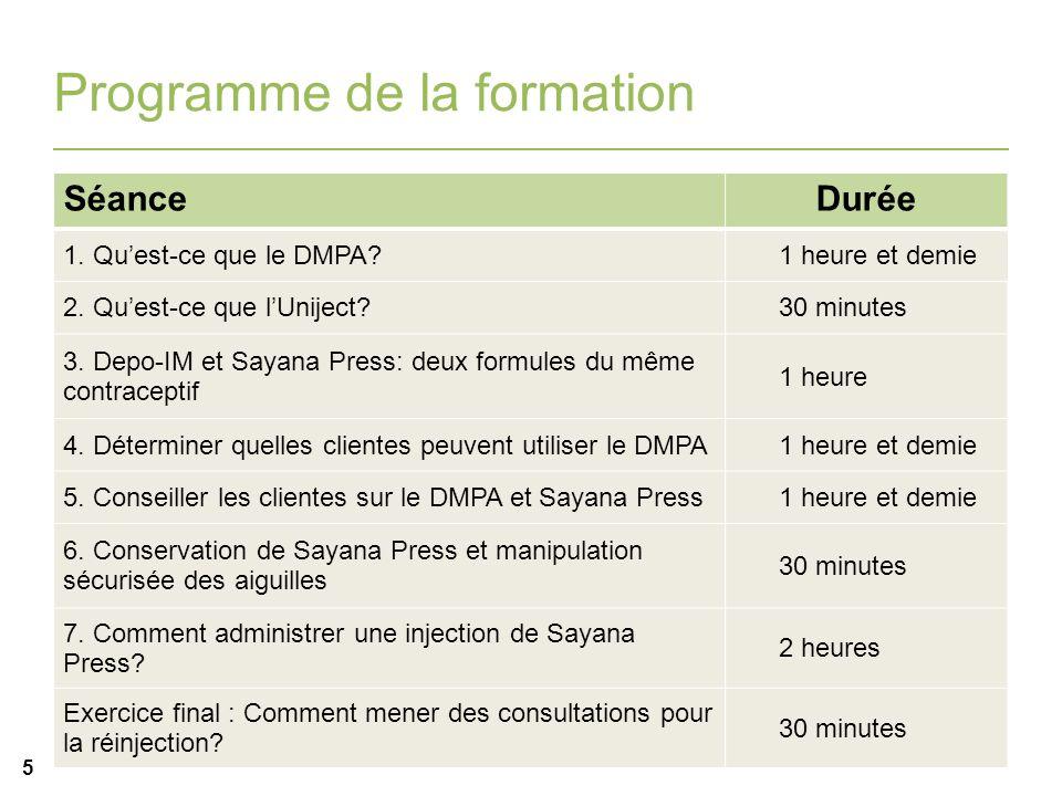 i 5 Programme de la formation SéanceDurée 1. Quest-ce que le DMPA?1 heure et demie 2. Quest-ce que lUniject?30 minutes 3. Depo-IM et Sayana Press: deu