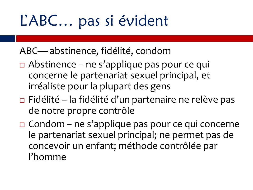 LABC… pas si évident ABC abstinence, fidélité, condom Abstinence – ne sapplique pas pour ce qui concerne le partenariat sexuel principal, et irréalist