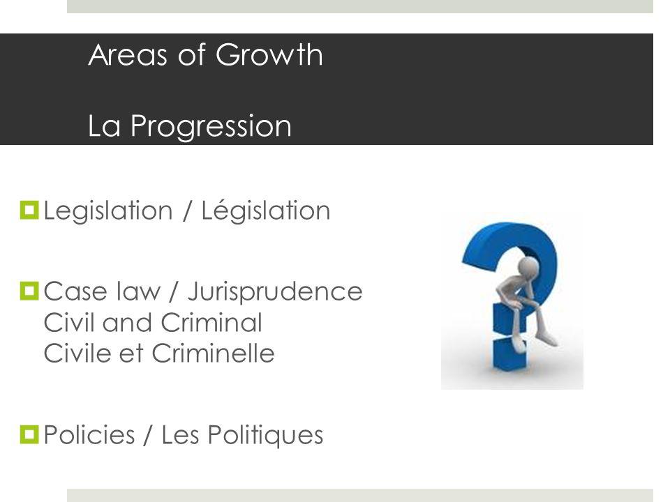 Areas of Growth La Progression Legislation / Législation Case law / Jurisprudence Civil and Criminal Civile et Criminelle Policies / Les Politiques