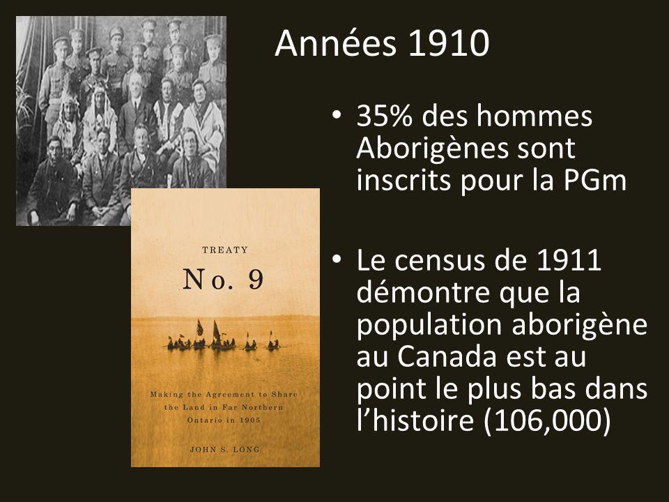 Années 1910 35% des hommes Aborigènes sont inscrits pour la PGm Le census de 1911 démontre que la population aborigène au Canada est au point le plus bas dans lhistoire (106,000)