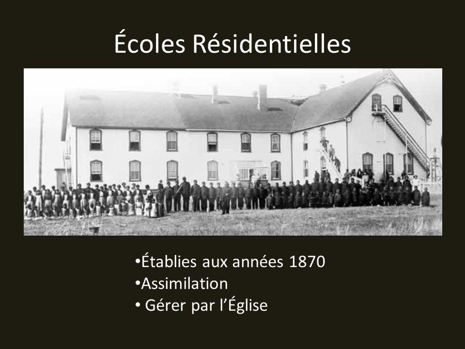 Écoles Résidentielles Établies aux années 1870 Assimilation Gérer par lÉglise