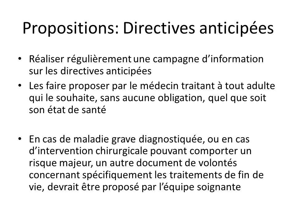 Propositions: Directives anticipées Réaliser régulièrement une campagne dinformation sur les directives anticipées Les faire proposer par le médecin t