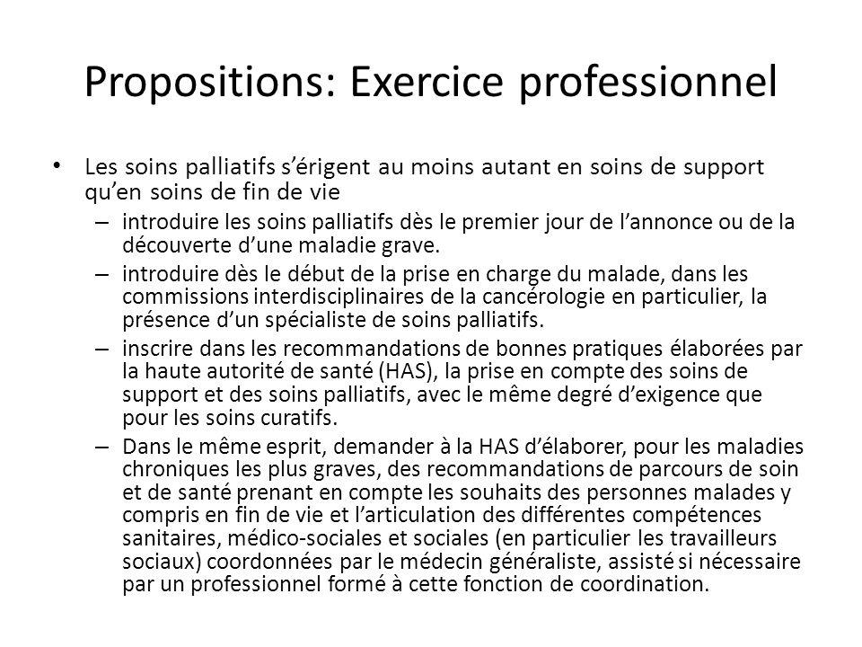 Propositions: Exercice professionnel Les soins palliatifs sérigent au moins autant en soins de support quen soins de fin de vie – introduire les soins