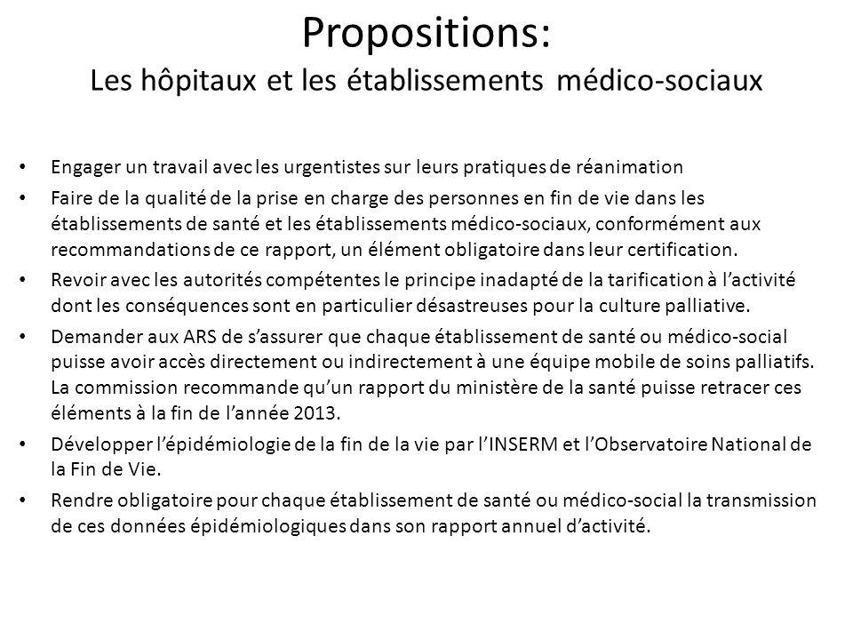 Propositions: Les hôpitaux et les établissements médico-sociaux Engager un travail avec les urgentistes sur leurs pratiques de réanimation Faire de la