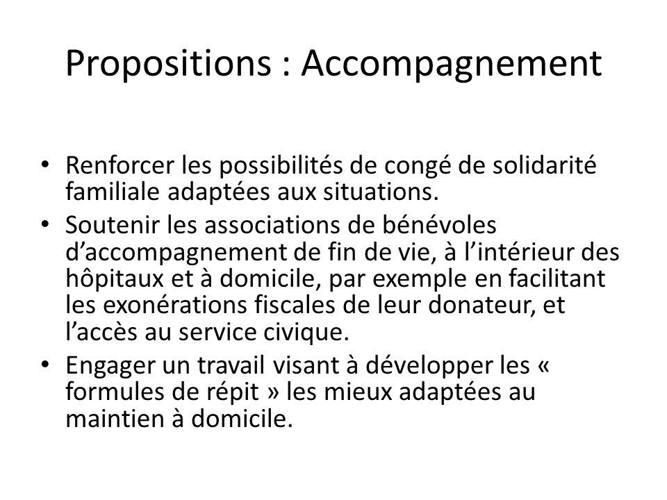 Propositions : Accompagnement Renforcer les possibilités de congé de solidarité familiale adaptées aux situations. Soutenir les associations de bénévo