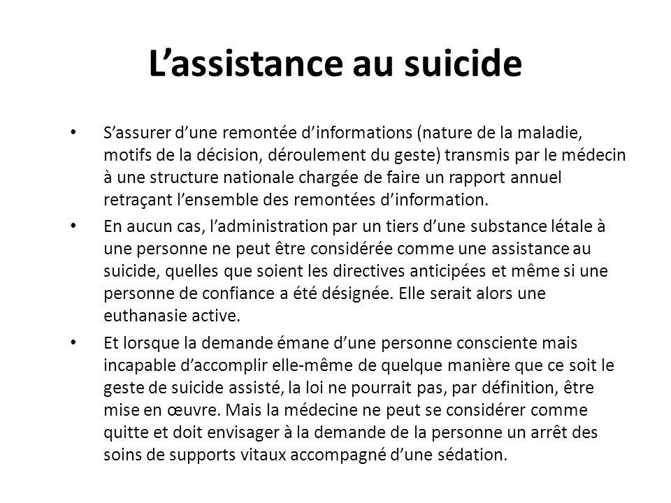 Lassistance au suicide Sassurer dune remontée dinformations (nature de la maladie, motifs de la décision, déroulement du geste) transmis par le médeci