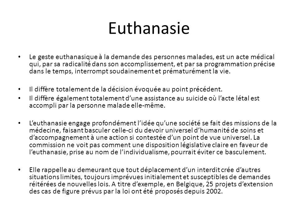 Euthanasie Le geste euthanasique à la demande des personnes malades, est un acte médical qui, par sa radicalité dans son accomplissement, et par sa pr