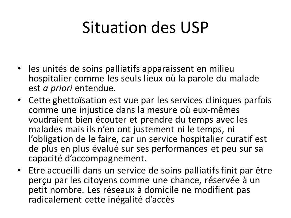 Situation des USP les unités de soins palliatifs apparaissent en milieu hospitalier comme les seuls lieux où la parole du malade est a priori entendue
