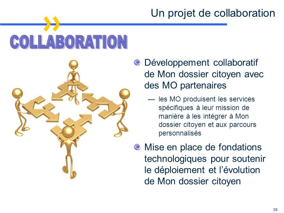 28 Un projet de collaboration Développement collaboratif de Mon dossier citoyen avec des MO partenaires les MO produisent les services spécifiques à leur mission de manière à les intégrer à Mon dossier citoyen et aux parcours personnalisés Mise en place de fondations technologiques pour soutenir le déploiement et lévolution de Mon dossier citoyen