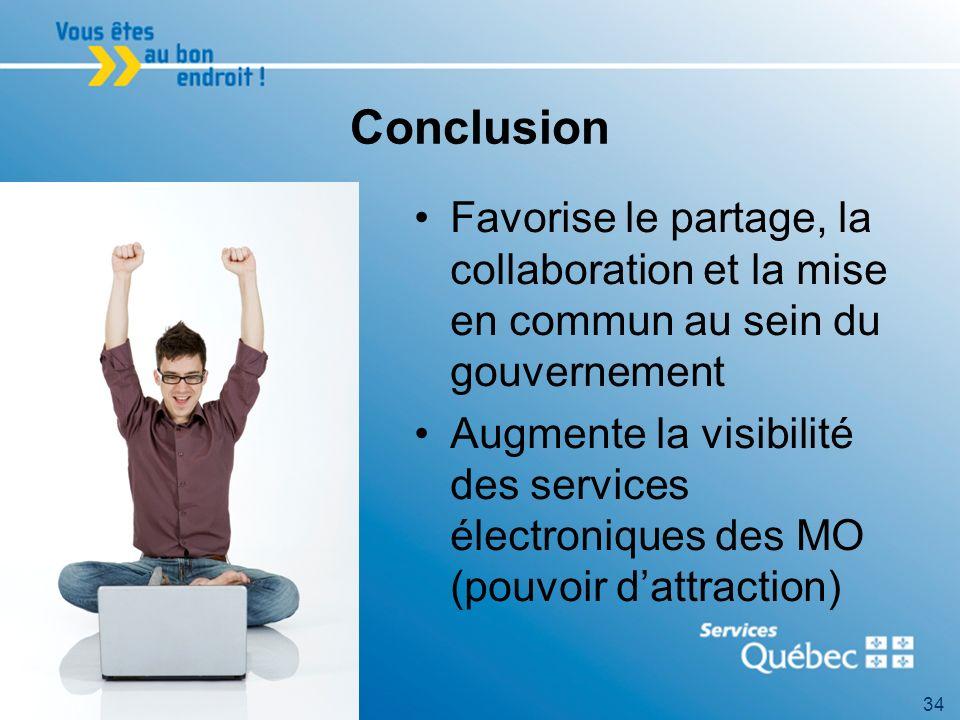 34 Conclusion Favorise le partage, la collaboration et la mise en commun au sein du gouvernement Augmente la visibilité des services électroniques des MO (pouvoir dattraction)
