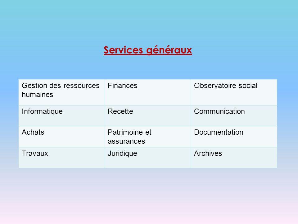 Services généraux Gestion des ressources humaines FinancesObservatoire social InformatiqueRecetteCommunication AchatsPatrimoine et assurances Documentation TravauxJuridiqueArchives