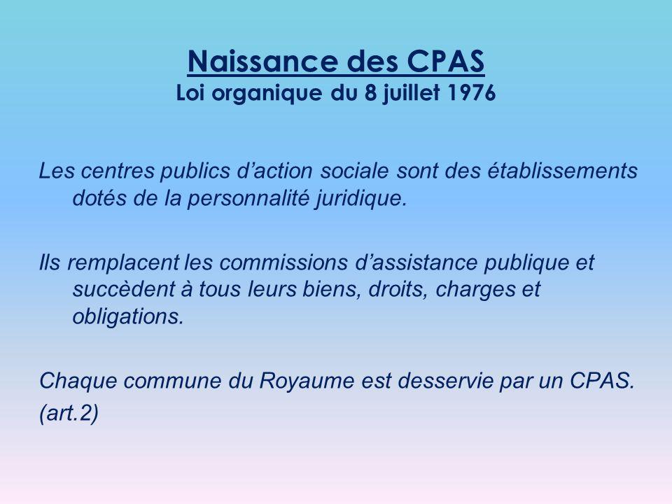 Les centres publics daction sociale sont des établissements dotés de la personnalité juridique.