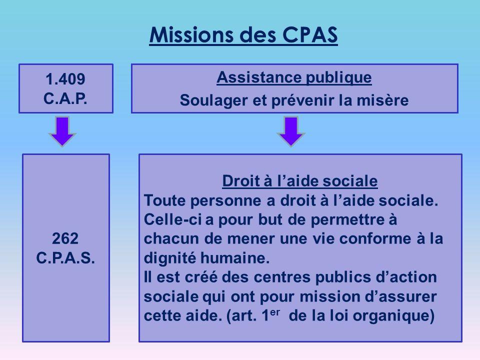 1.409 C.A.P.Assistance publique Soulager et prévenir la misère 262 C.P.A.S.