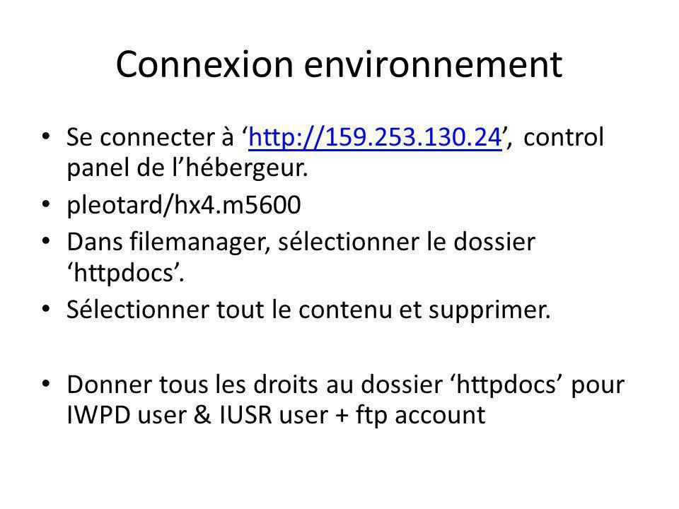 Connexion environnement Se connecter à http://159.253.130.24, control panel de lhébergeur.http://159.253.130.24 pleotard/hx4.m5600 Dans filemanager, sélectionner le dossier httpdocs.