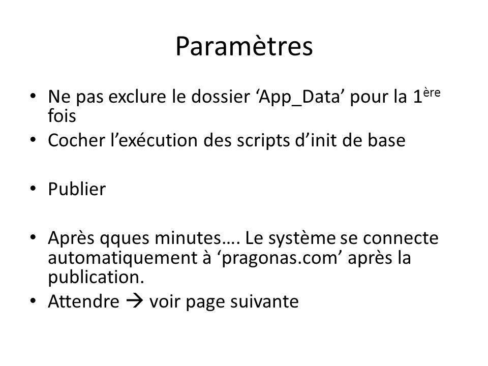 Ne pas exclure le dossier App_Data pour la 1 ère fois Cocher lexécution des scripts dinit de base Publier Après qques minutes….