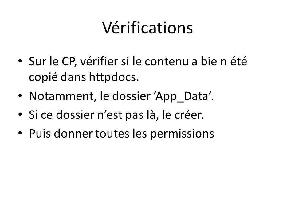 Vérifications Sur le CP, vérifier si le contenu a bie n été copié dans httpdocs.