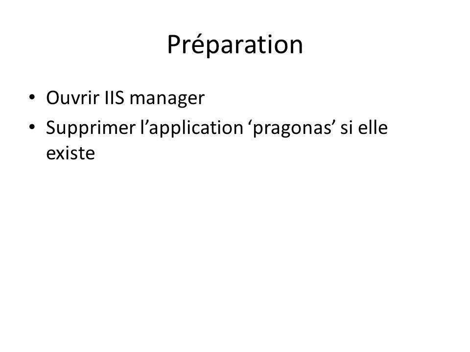 Préparation Ouvrir IIS manager Supprimer lapplication pragonas si elle existe