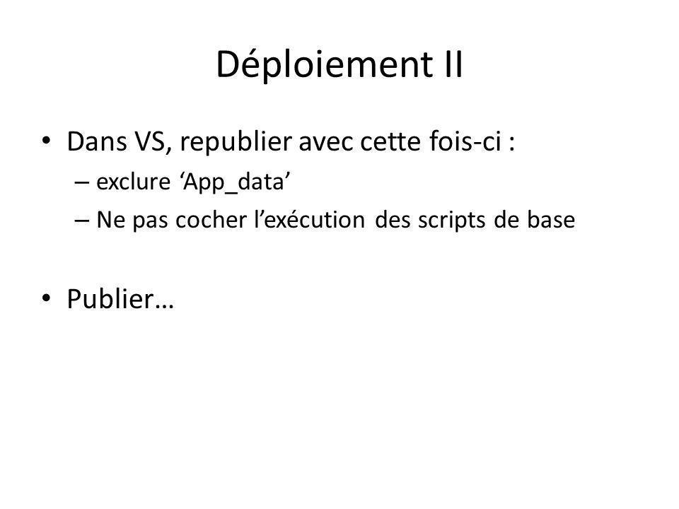Déploiement II Dans VS, republier avec cette fois-ci : – exclure App_data – Ne pas cocher lexécution des scripts de base Publier…