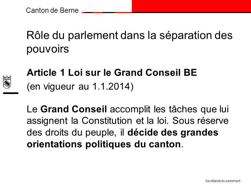 Canton de Berne Rôle du parlement dans la séparation des pouvoirs Article 1 Loi sur le Grand Conseil BE (en vigueur au 1.1.2014) Le Grand Conseil accomplit les tâches que lui assignent la Constitution et la loi.