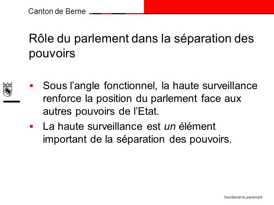 Canton de Berne Rôle du parlement dans la séparation des pouvoirs Sous langle fonctionnel, la haute surveillance renforce la position du parlement face aux autres pouvoirs de lEtat.
