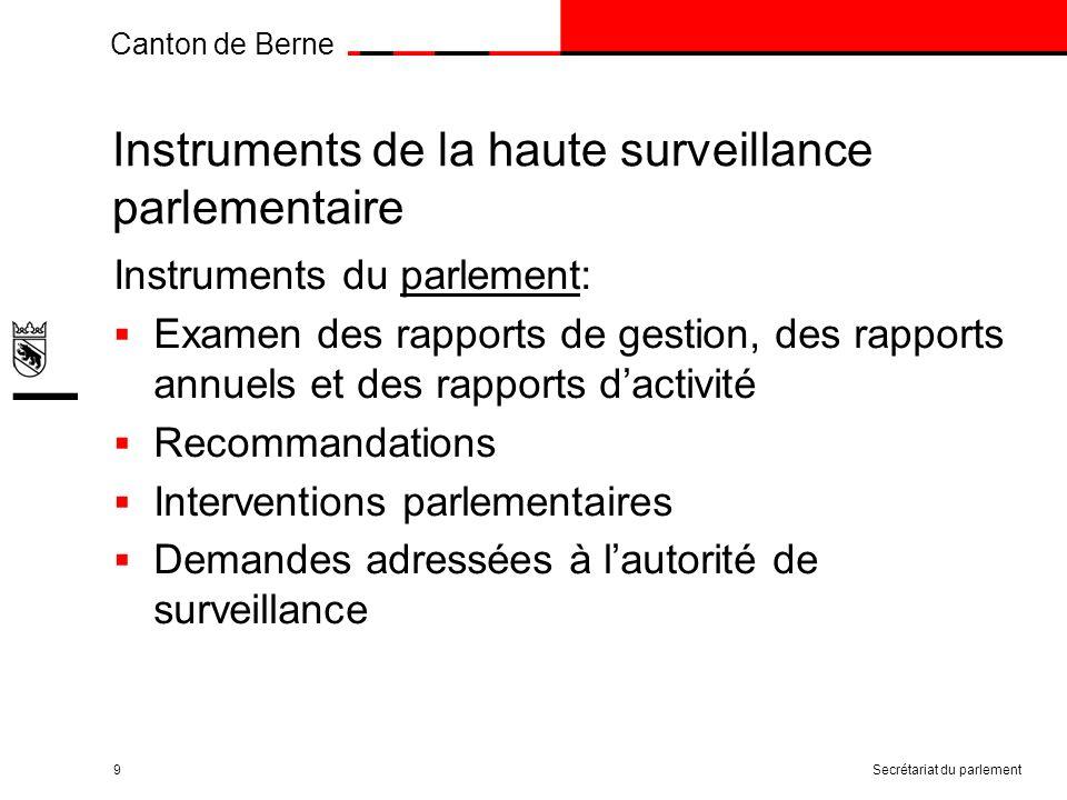 Canton de Berne Instruments de la haute surveillance parlementaire Instruments du parlement: Examen des rapports de gestion, des rapports annuels et des rapports dactivité Recommandations Interventions parlementaires Demandes adressées à lautorité de surveillance Secrétariat du parlement9