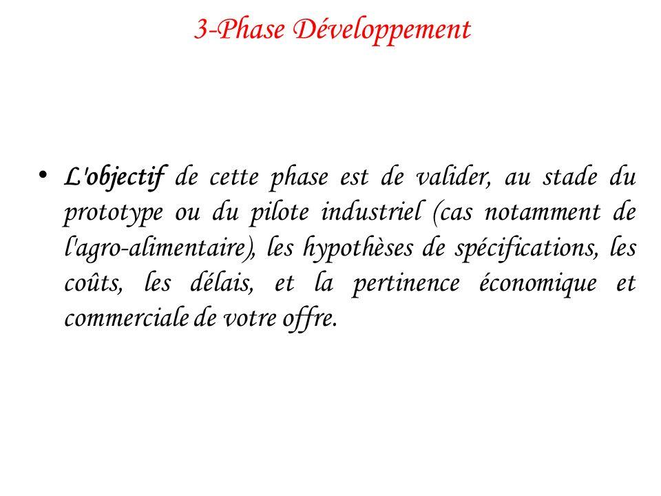 3-Phase Développement L'objectif de cette phase est de valider, au stade du prototype ou du pilote industriel (cas notamment de l'agro-alimentaire), l