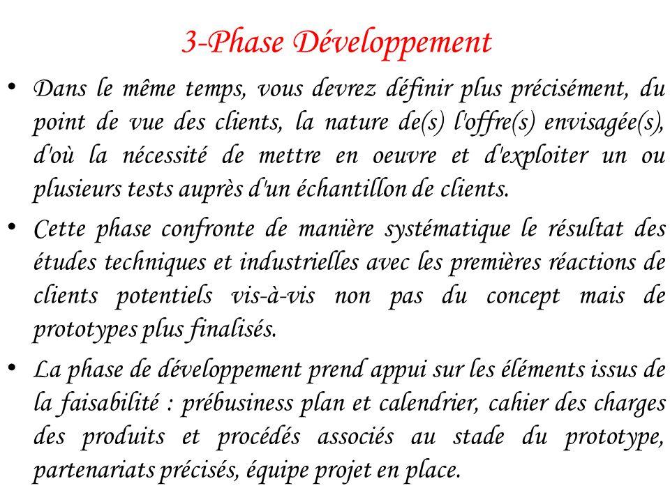 3-Phase Développement Dans le même temps, vous devrez définir plus précisément, du point de vue des clients, la nature de(s) l'offre(s) envisagée(s),