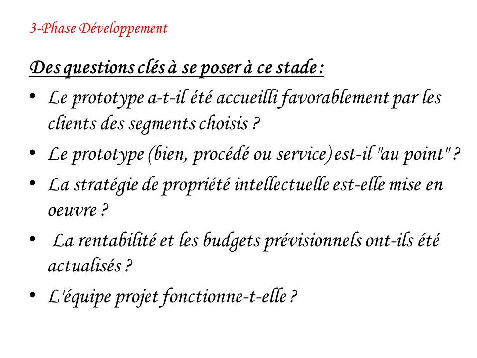 3-Phase Développement Des questions clés à se poser à ce stade : Le prototype a-t-il été accueilli favorablement par les clients des segments choisis