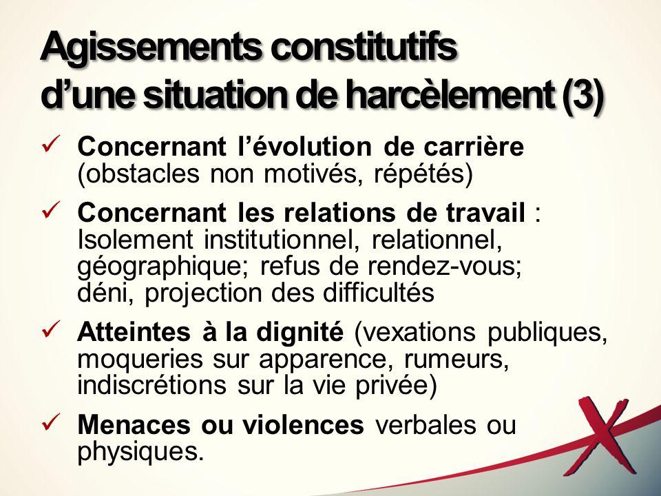 Agissements constitutifs dune situation de harcèlement (3) Concernant lévolution de carrière (obstacles non motivés, répétés) Concernant les relations