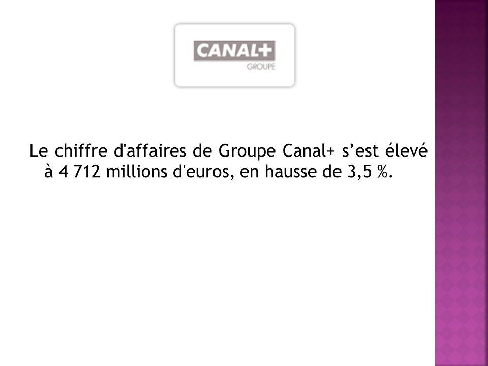 Le chiffre d affaires de Groupe Canal+ sest élevé à 4 712 millions d euros, en hausse de 3,5 %.